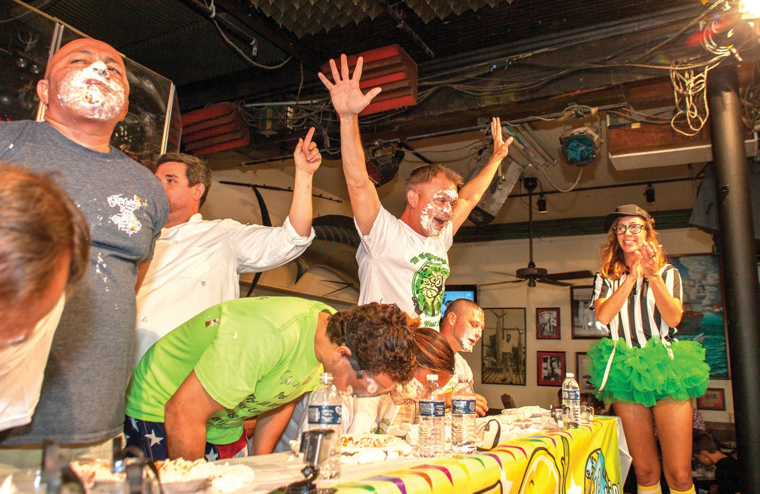 The competition is pretty fierce at the pie-eating challenge at the Key Lime Festival.
