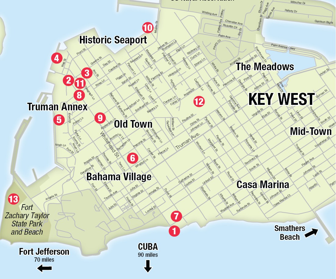 Map Of Key West Florida Streets.Getting Around Key West Key West Florida Weekly Key West