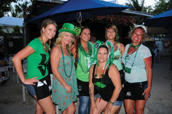 Evalena and some of the Schooner Wharf crew at last year's Schooner Wharf St. Patrick's Day Celebration.